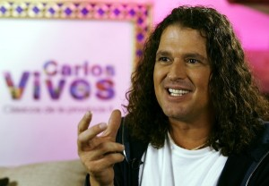 Colombian singer Carlos Vives gestures during an interview with Reuters in Bogota